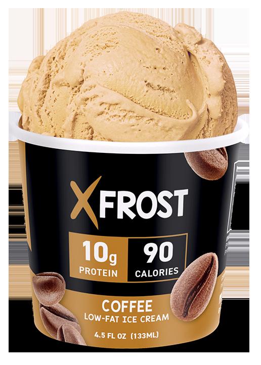 Xfrost Coffee 4.5oz Ice Cream, High Protein Ice Cream, Lid Open