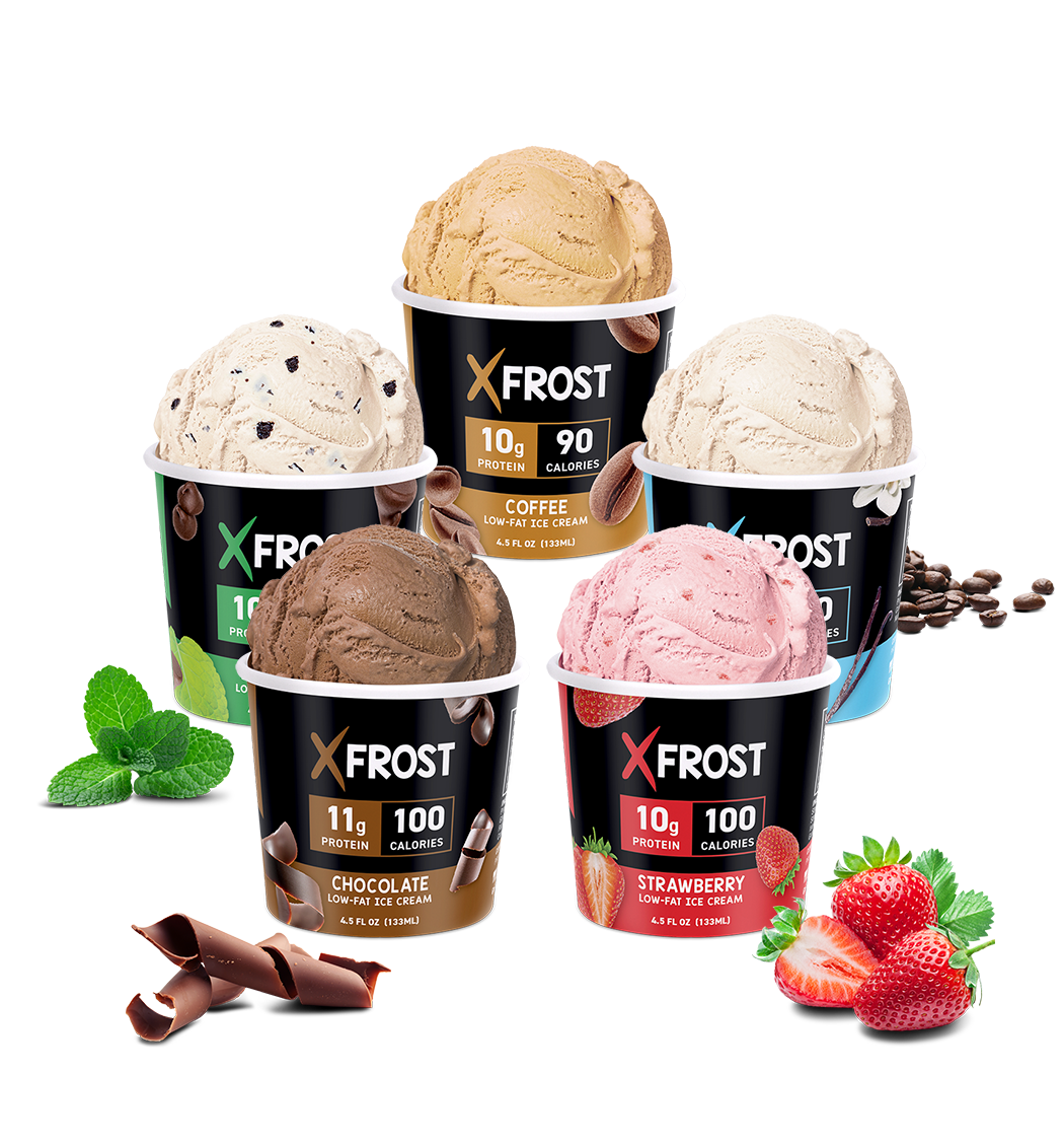 Xfrost High Protein Ice Cream Cups, 4.5oz, 5 Flavors in a Row with ingredients surrounding it, Mint Chip, Chocolate, Vanilla, Strawberry, and Coffee Ice Cream with Mint Leaves, Chocolate Swirls, Strawberries, and Coffee Beans