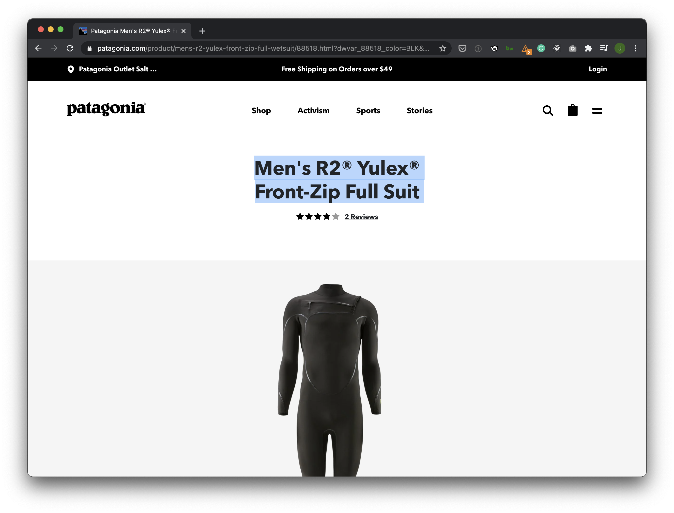 """Example of PDP H1 saying """"Men's R2 Yulex Front-Zip Full Suit"""""""