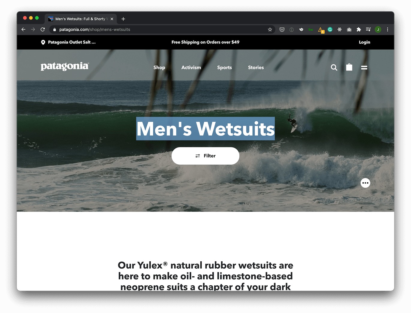 """PLP with H1 saying """"Men's Wetsuits"""""""