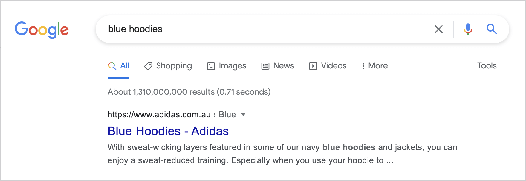"""Screenshot of Google with query """"blue hoodies"""""""