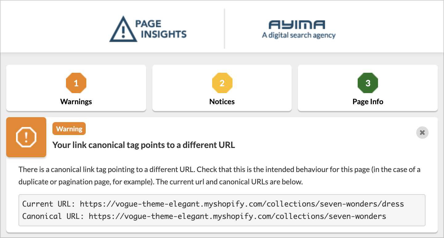 Image showing how canonical tags point to different URLs.