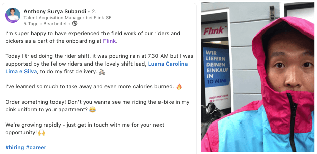 At Flink, every new employee gets to deliver groceries by bike.