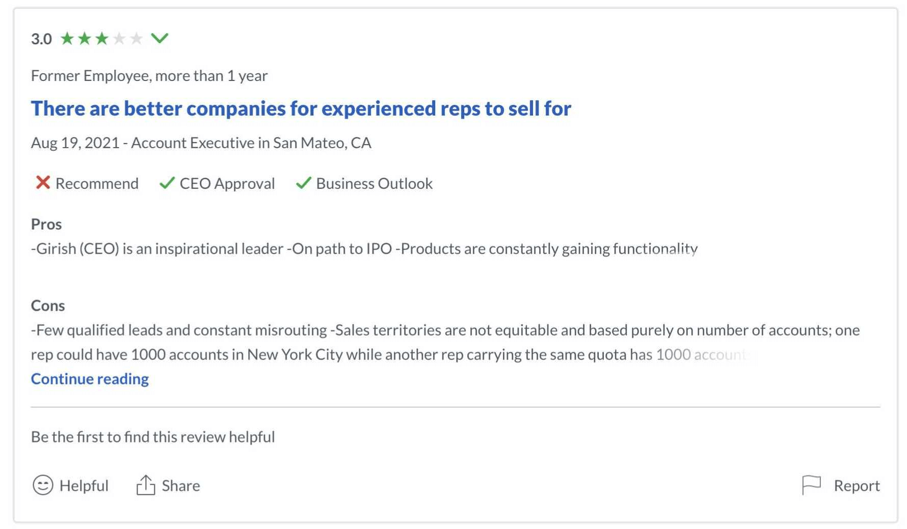 Glassdoor is also an example for a social media channel: Example of a bad (3/5) review by a former employee