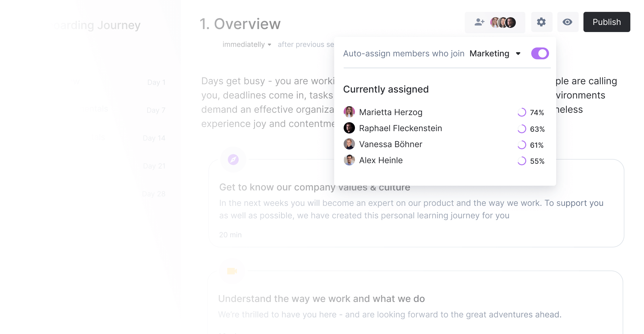 Assigning a journey to an employee to then receive automated reminders. Progress is shown on a new hire level.