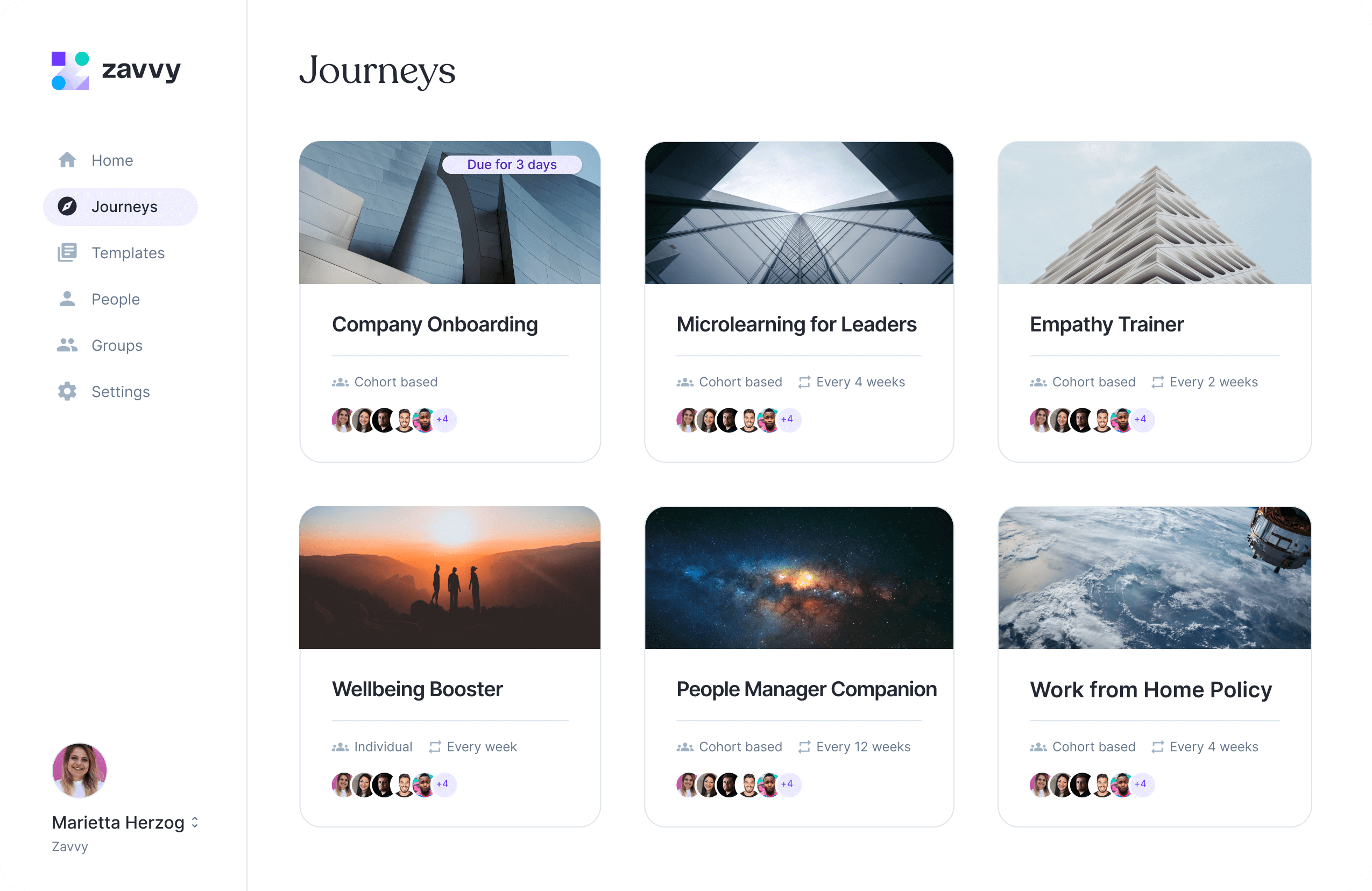 Zavvy is a training platform for companies and employees. This screen shows a view of the library containing templates for initaitives like developer onboarding, lunch walks, or resilience.