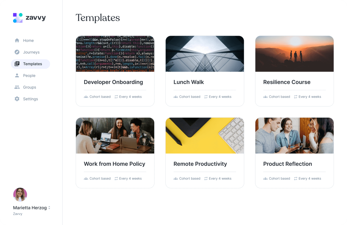 Zavvy template gallery containing programs for onboarding, wellbeing, employee engagement and more