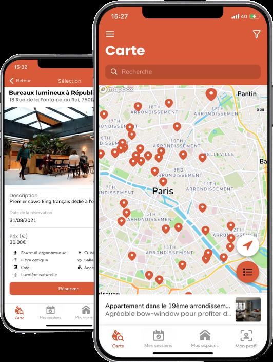 Application mobile de réservation d'espaces de travail.