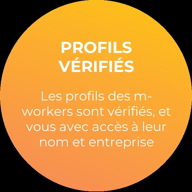 Les profils des m-workers sont vérifiés, et vous avez accès à leur nom et entreprise.