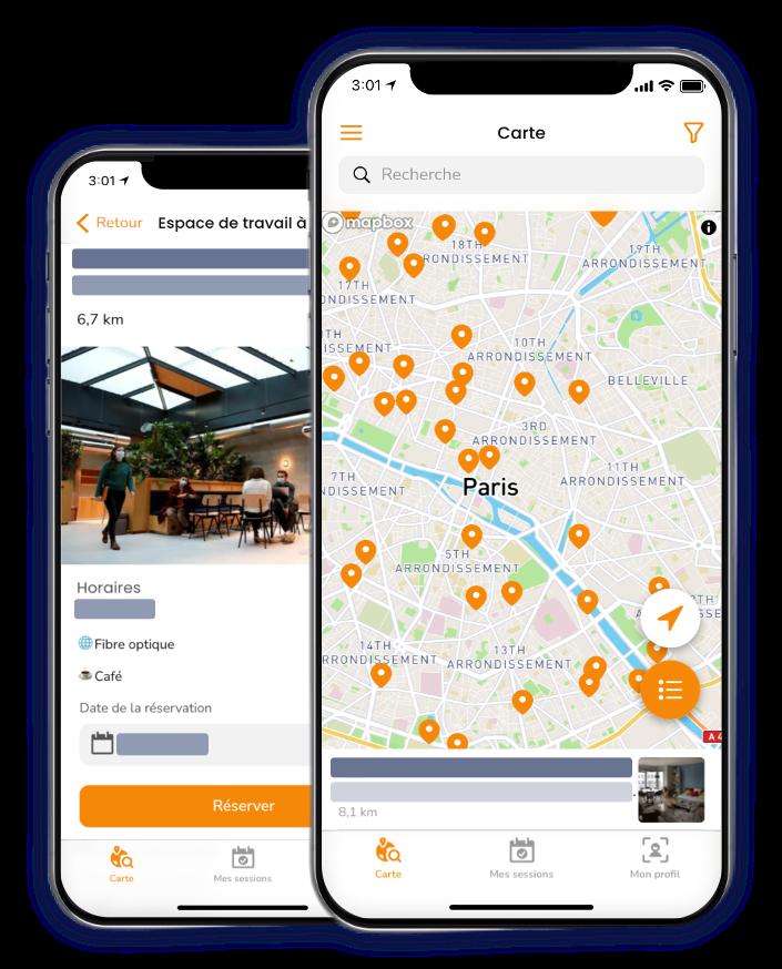 Application mobile de réservation d'espaces de travail de proximité.