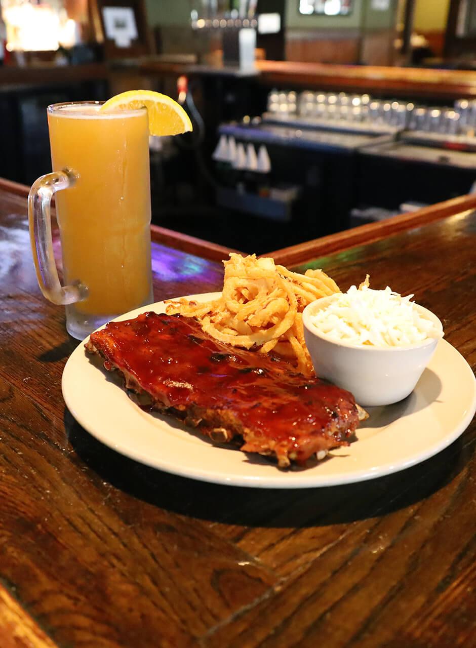 BBQ Babyback Ribs and Beer on bar