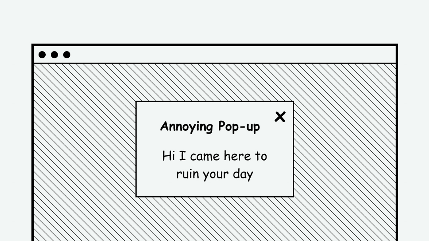Example of an annoying pop-up