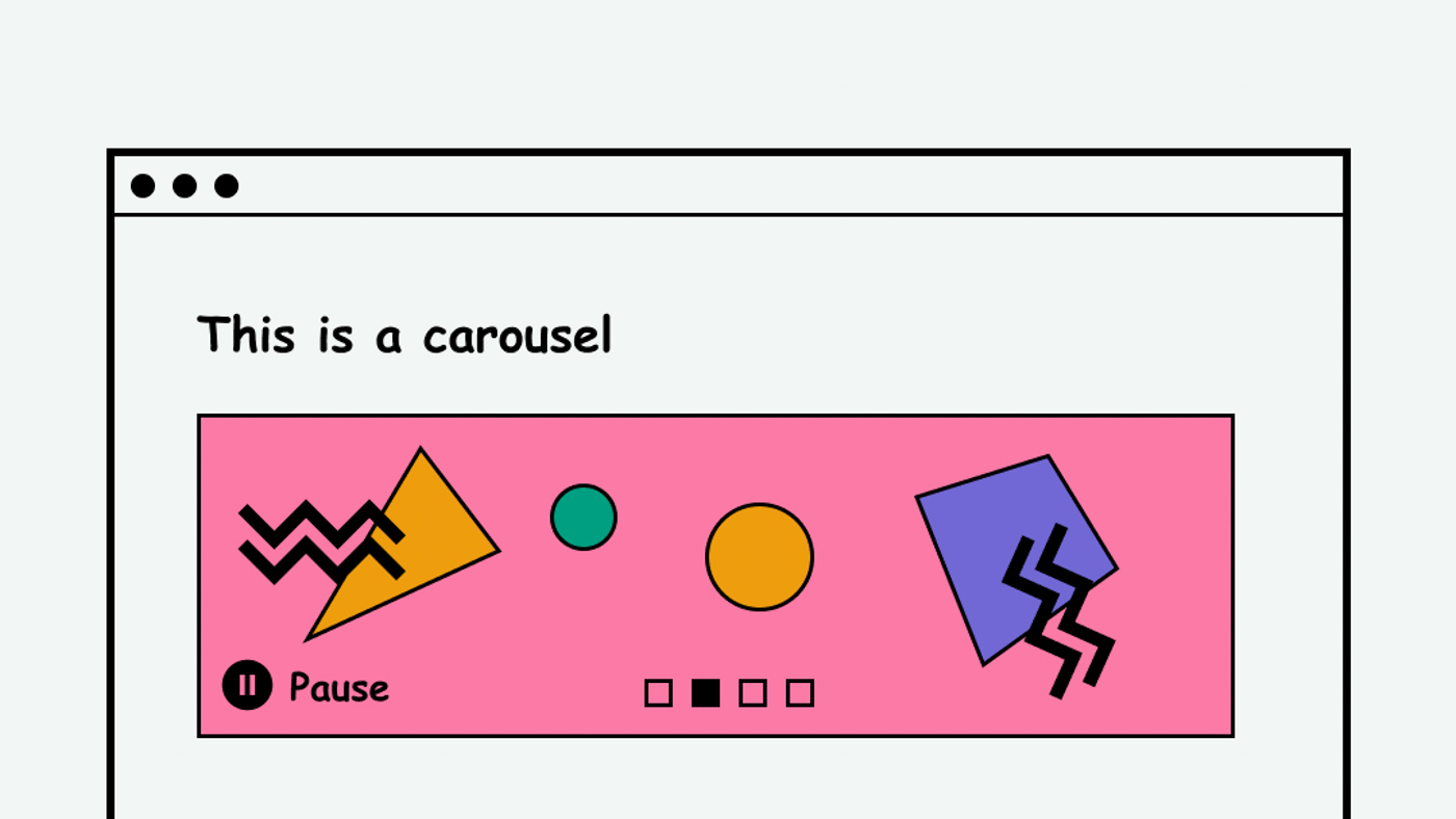 A carousel with a pause button on a website