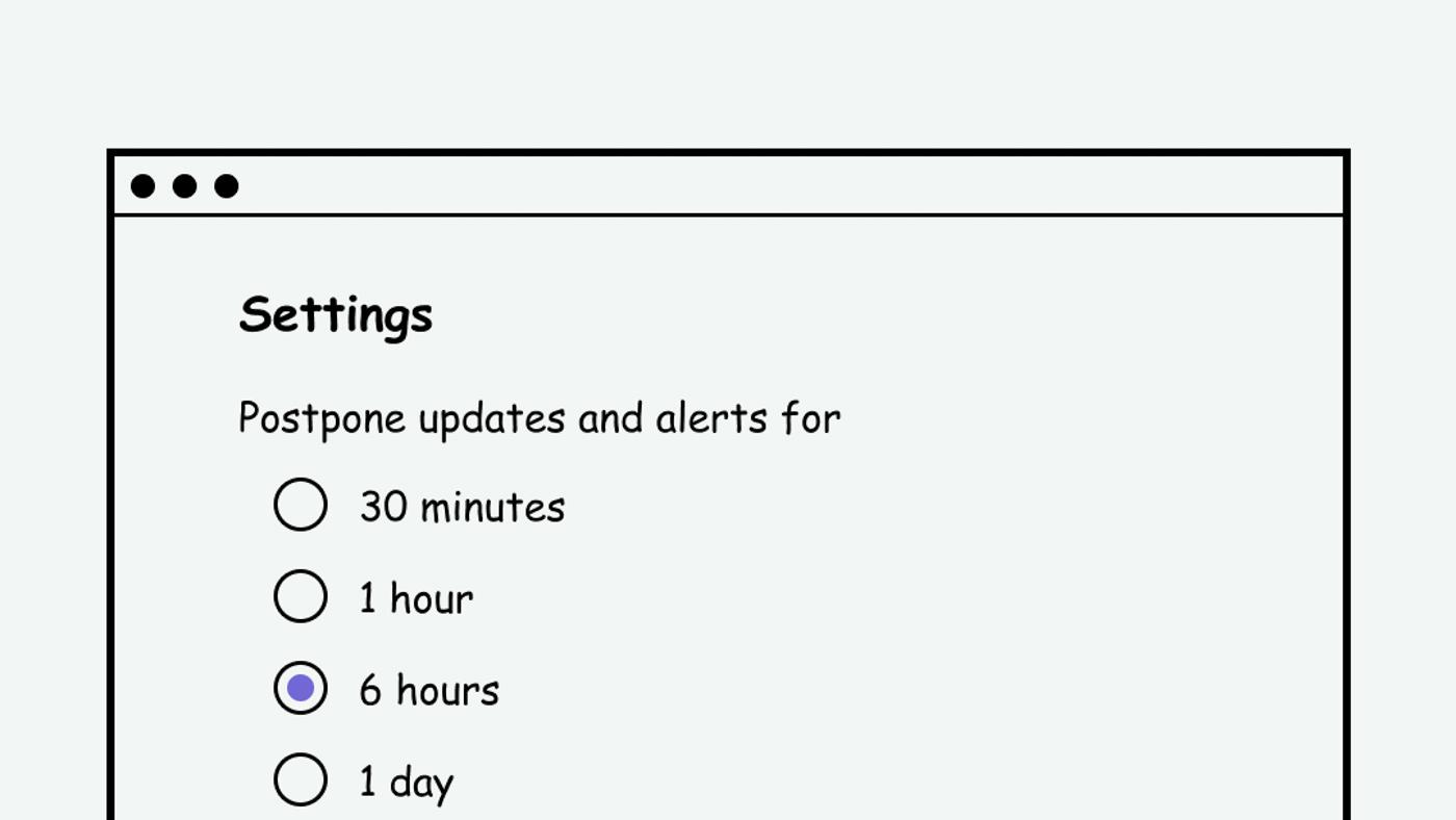 Webpage that allows user to postpone alerts