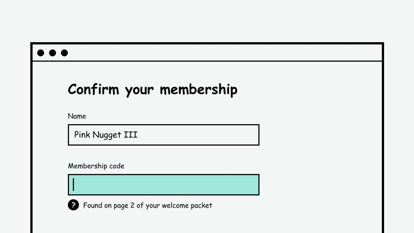 A help message below the membership code of a form