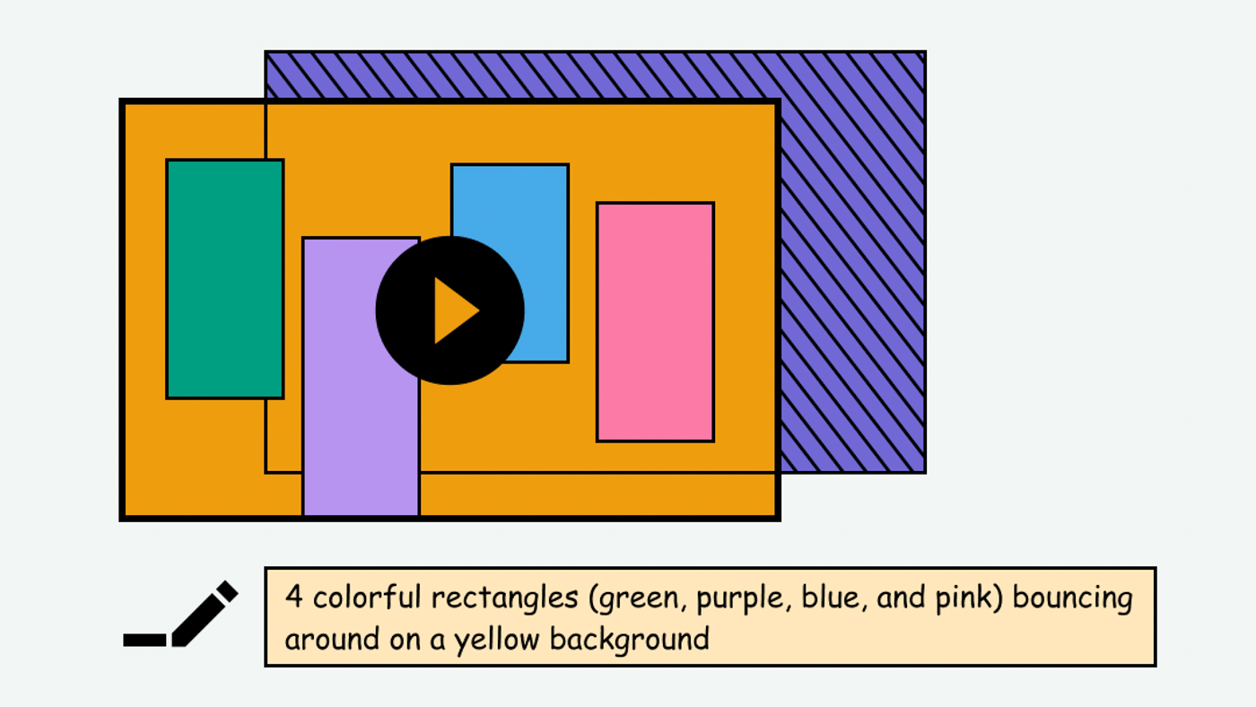 Example of a video with colorful shapes and a text description below