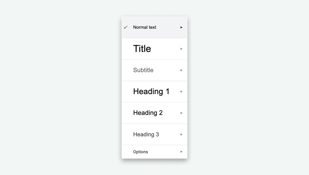 Example of headings in google docs