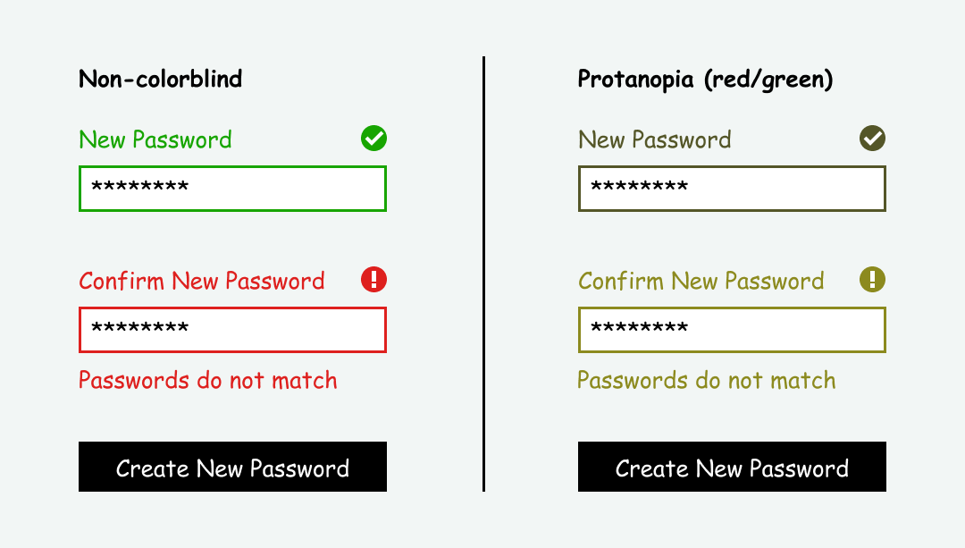 Comparison of accessible form design using color, icons, and text to show success and error