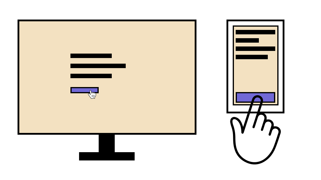 The same display with a smaller button on desktop and larger on mobile.