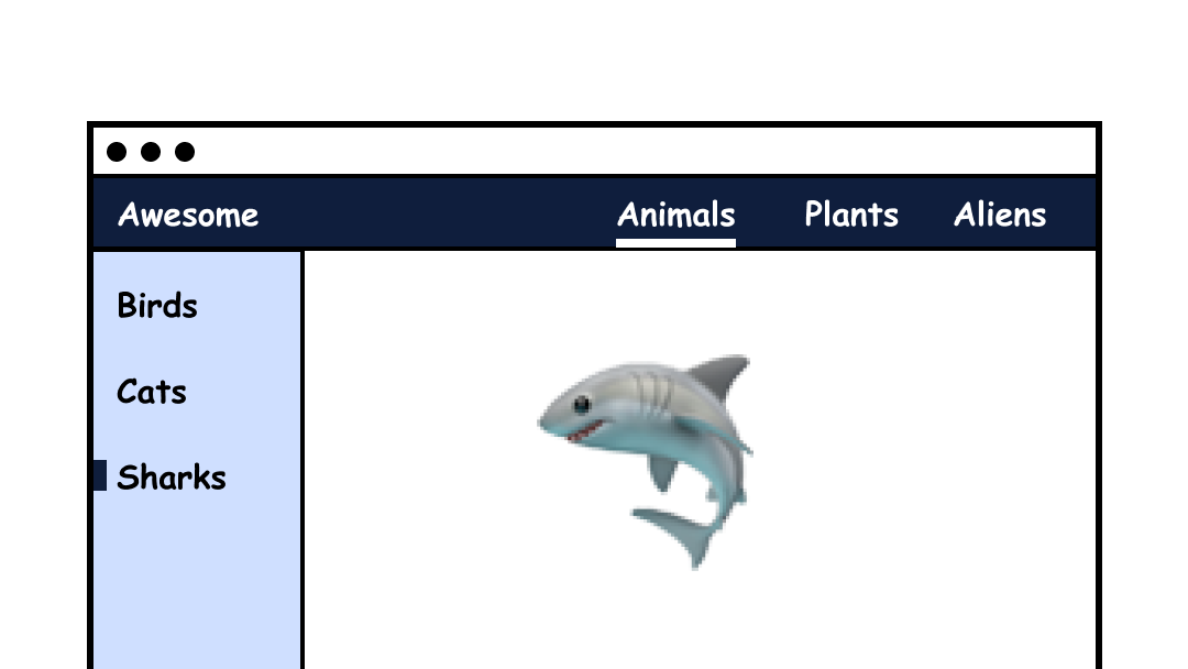 """Website where the page """"Sharks"""" is selected within the """"Animals"""" tab."""