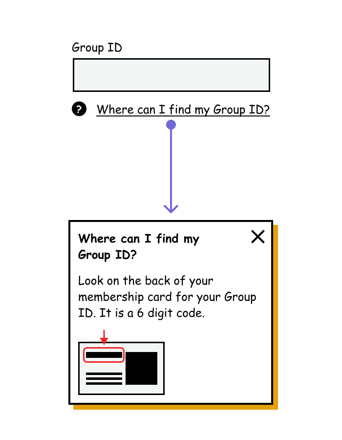 A text input of a Group ID with an inline link that opens to a modal dialog.