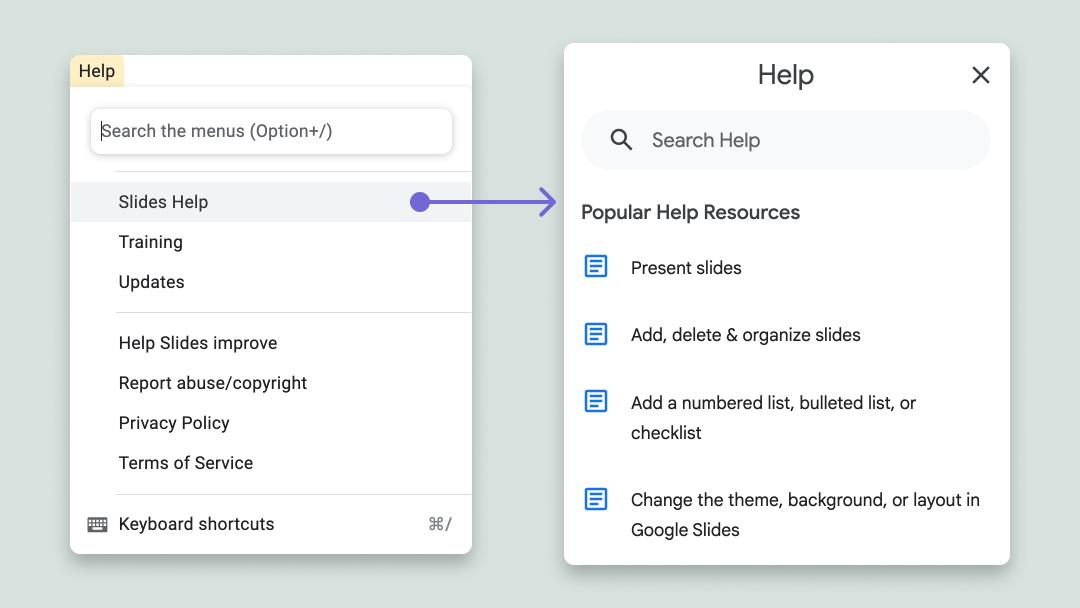 Google's embedded help center for google slides.
