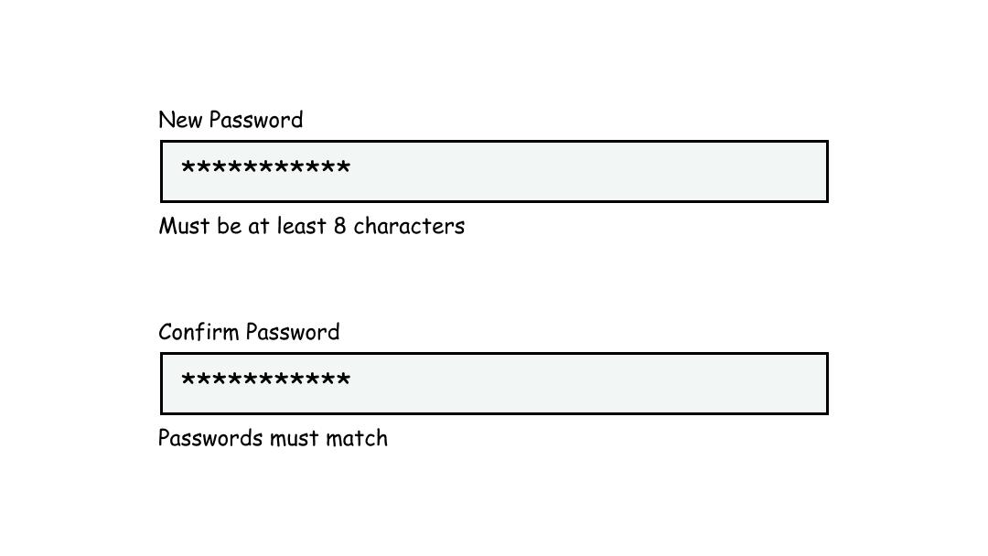 Password text inputs with inline instructions below.