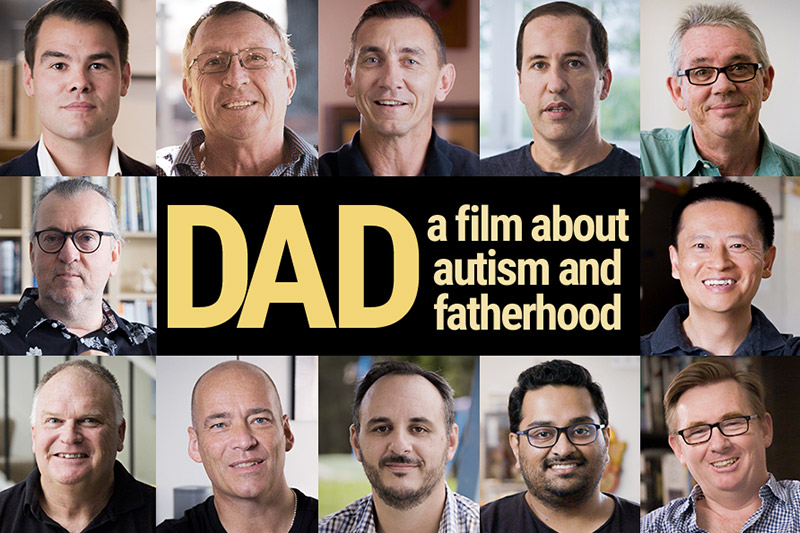 Small photos of 12 dads featured in film around the film logo