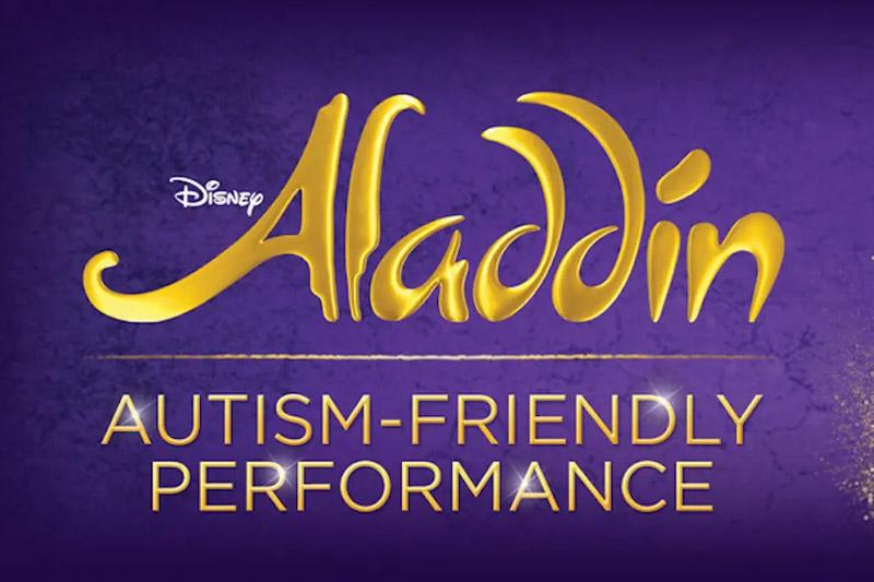 Aladdin autism friendly performance logo on purple background