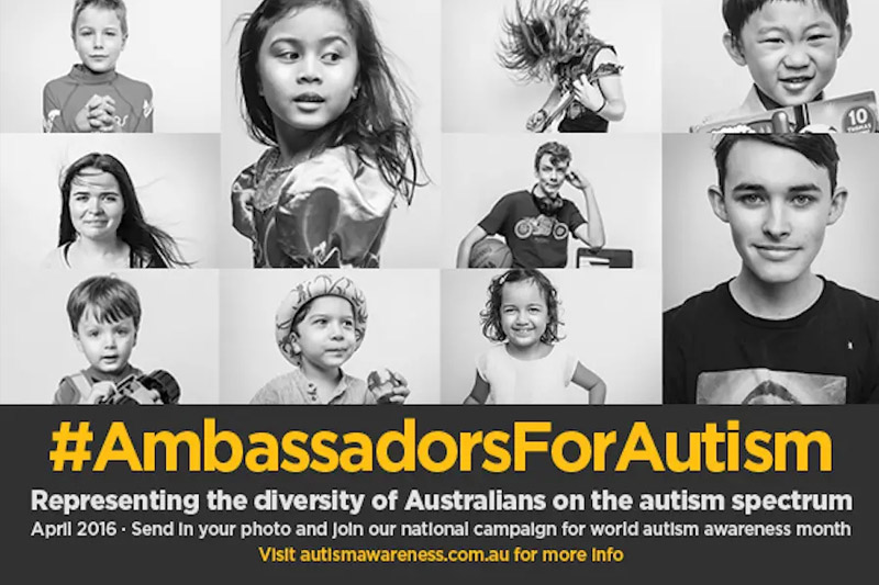 Photos of 12 kids with autism and the Ambassadors for Autism logo