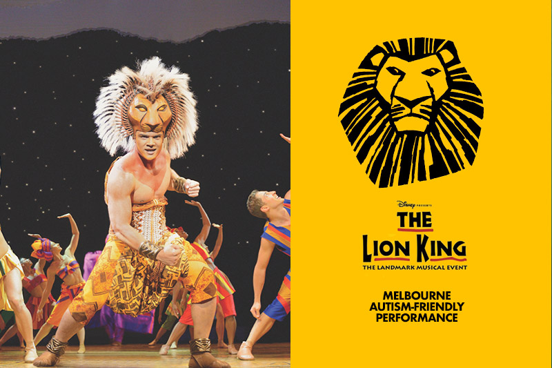 Performer in The Lion King with logo beside