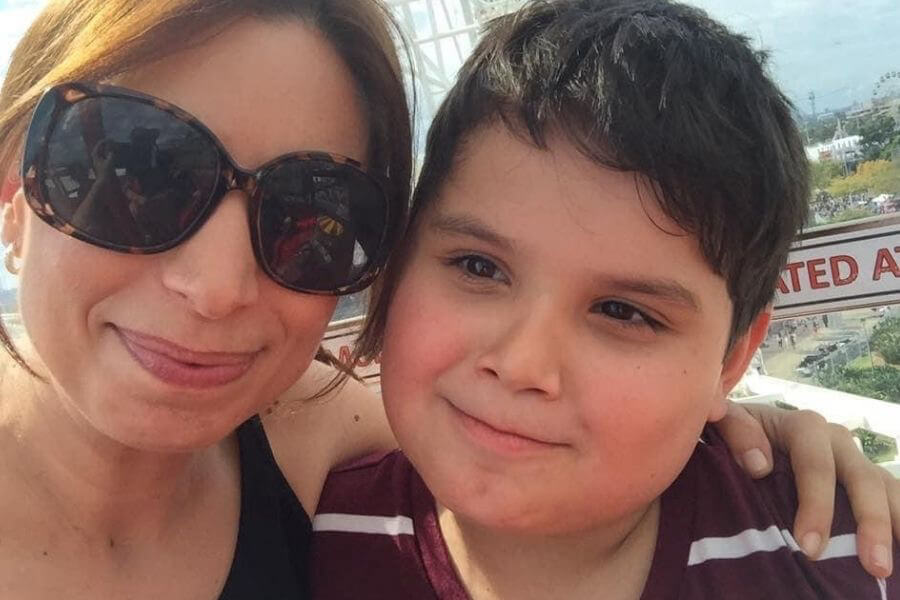 Selfie of mum with son
