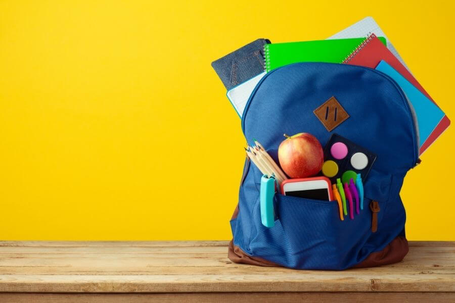 School bag sitting on desk