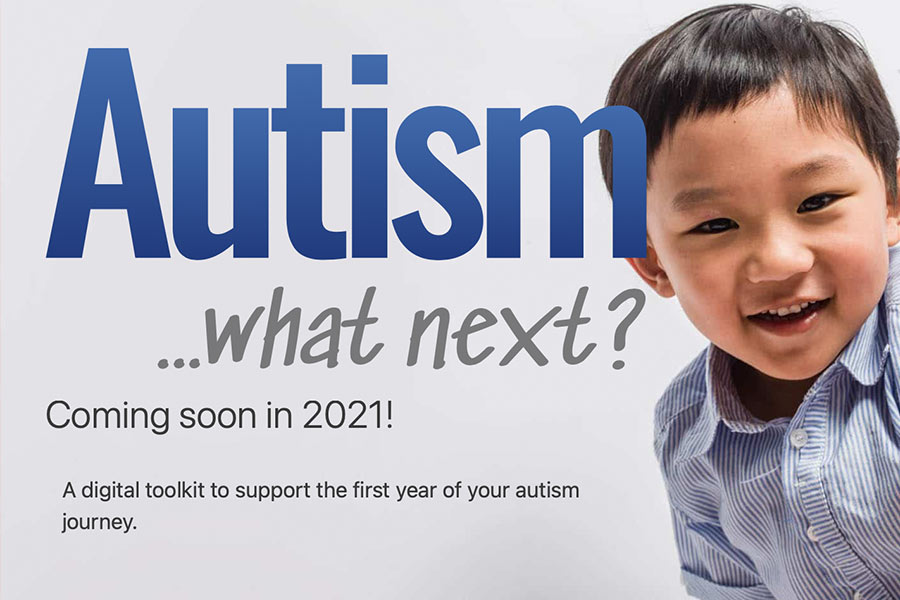 Autism what next website header with young boy smiling at camera