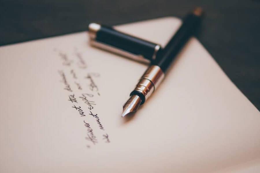 Pen sitting on notebook