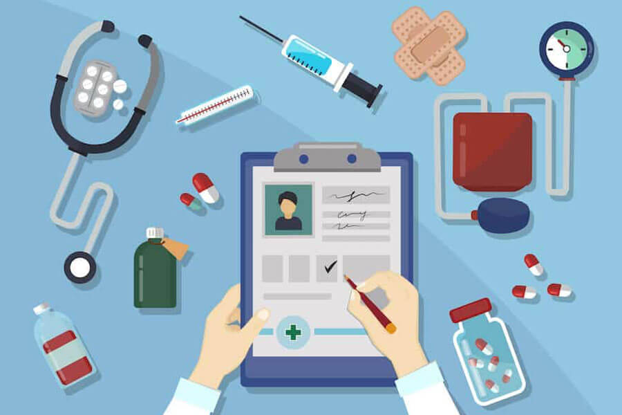 Concept illustration doctor writing medical notes with pills, stethoscope, blood pressure reader