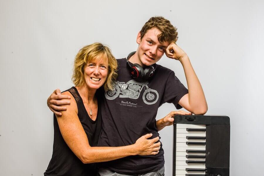 Teenage boy with mum
