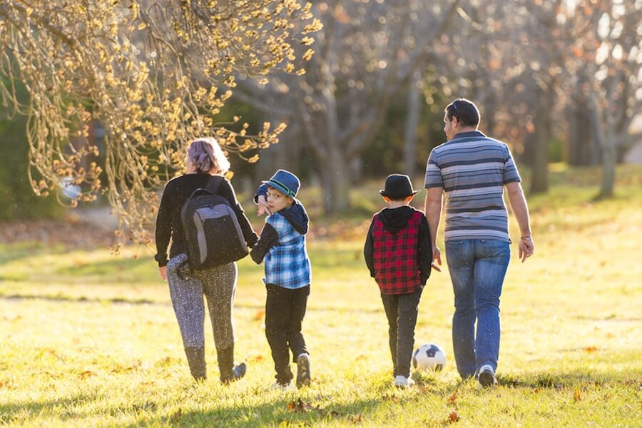 Family of four walking in park from behind