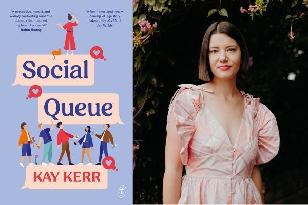 Social Queue Book cover and Kay Kerr wearing pink dress