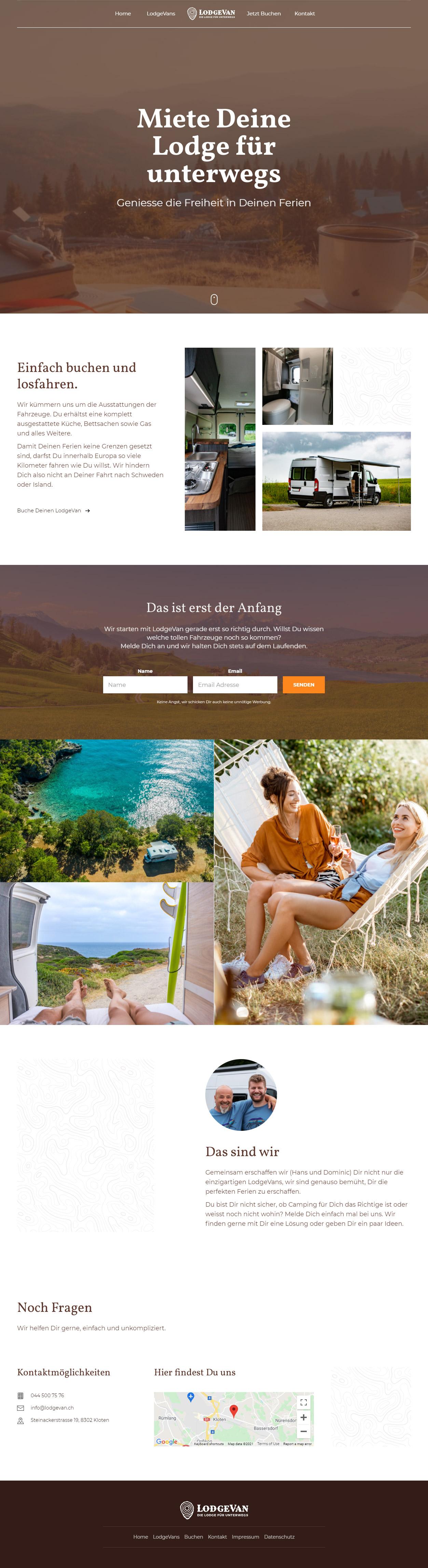 Webseite LodgeVan GmbH
