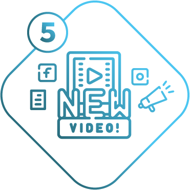 play button and social media icons representing and explainer or marketing video being launched