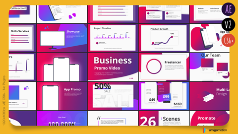 Promote your business, product or app, with professionally designed title slides. Awesome ways to use this template: Create an intro video for your freelance business. Highlight your profile, skills, past client reviews, and portfolio. Promote your app, with awesome scenes that highlight your app. Create a modern presentation for your company, showing growth, goals, team, timeline, and pricing models. Share your new product, featuring pricing, sales, demo videos, and key features