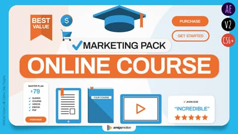 Online courses, eBooks, Webinars, and Masterclasses are the next big thing. After working hard on creating your course, it's now time to promote it, share it with the world, and generate sales. This is exactly where this template (Online Course/Webinar/eBook Marketing Pack) comes into action. This video template was created to provide you a complete set of video marketing tools to promote your online course and through that, bring in more sales.