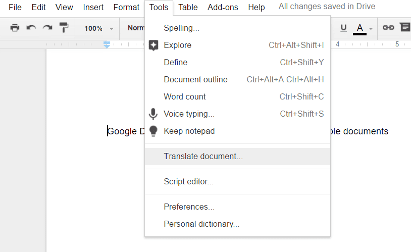 How to use the Translation option for Google Doc?