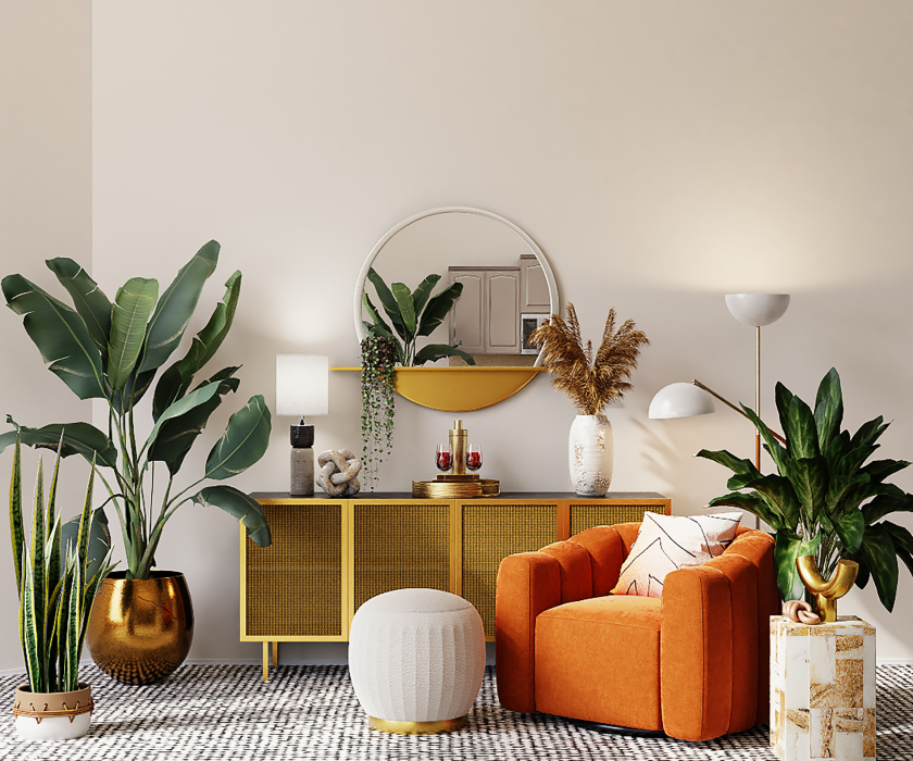 Image of a living room with plants and an orange couch