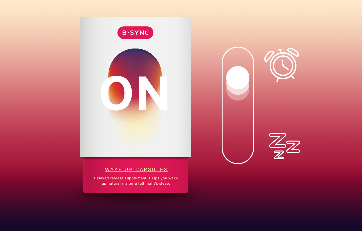 Our first nutraceutical product is for those who seek to control their inner clock and wake up with ease. Unlike other sleep-aids or your alarm clock, it empowers night owls, shift workers and business travelers to control their wake-up process.