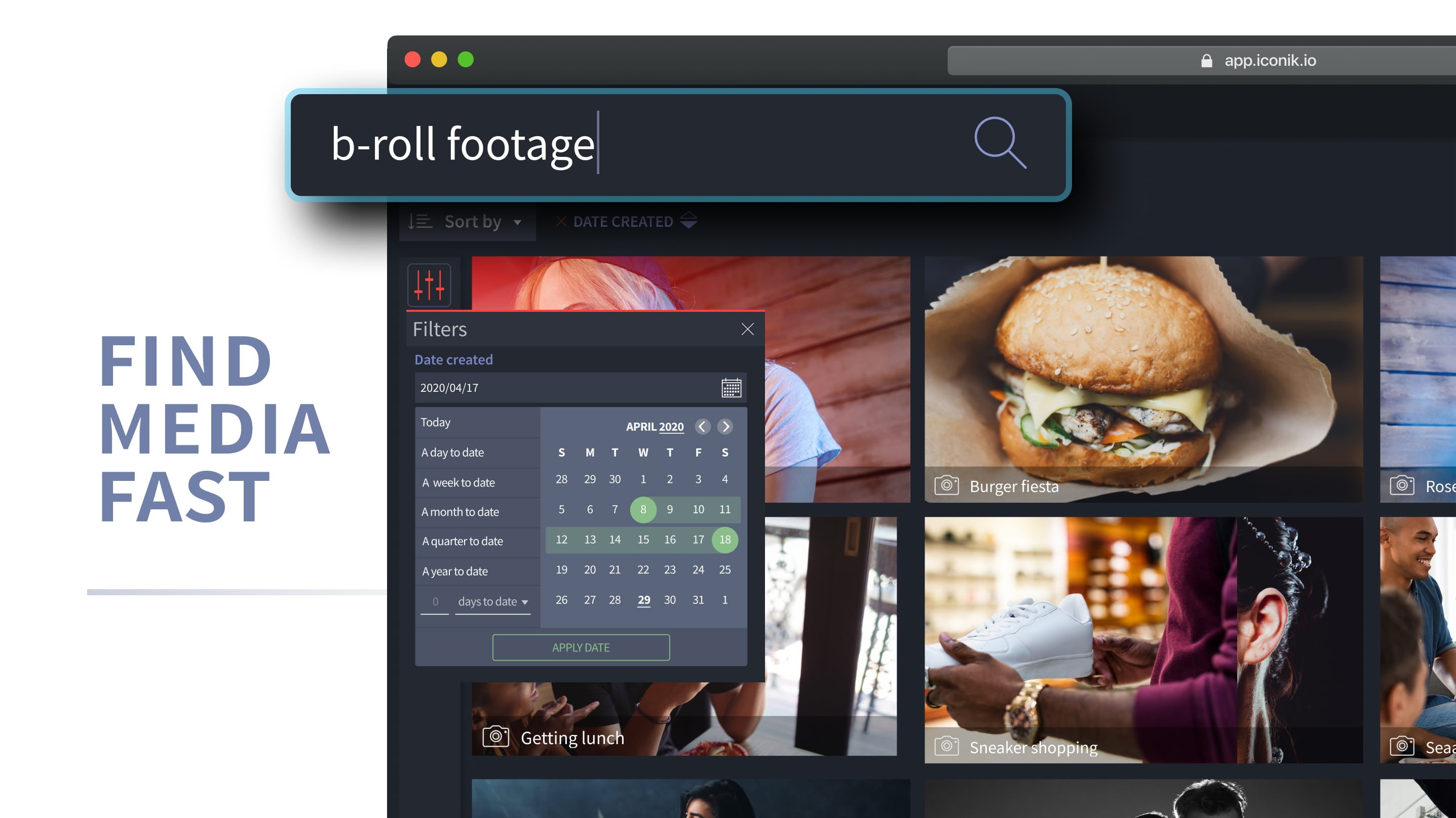 Quickly finding footage with iconik