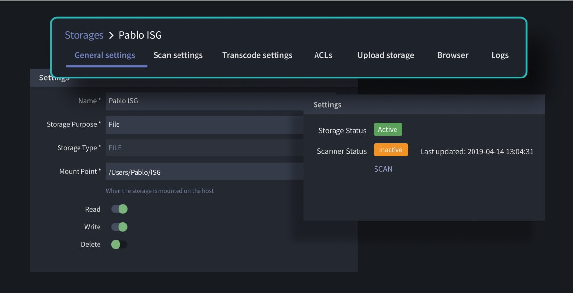 Storage admin page