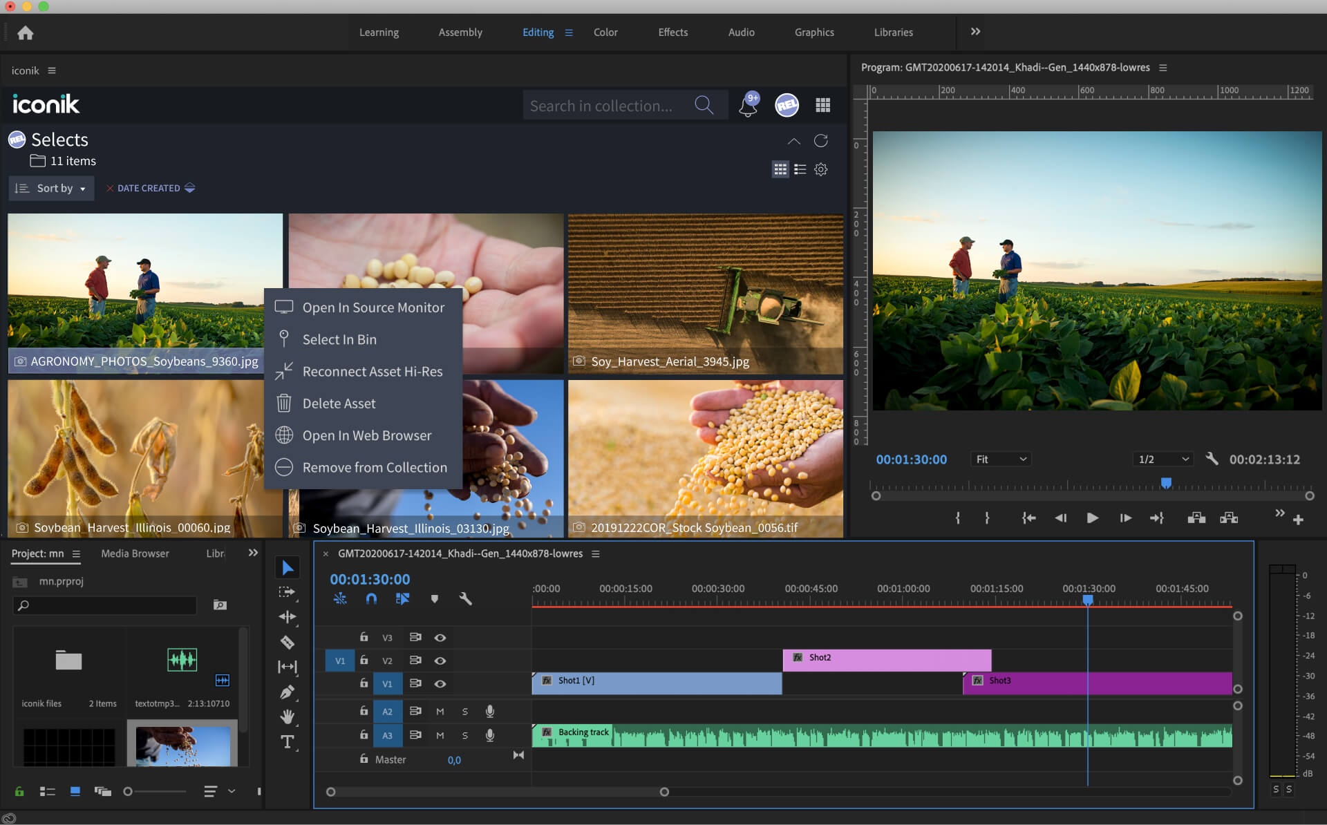 Remote video editing in Adobe Premiere Pro with the iconik panel