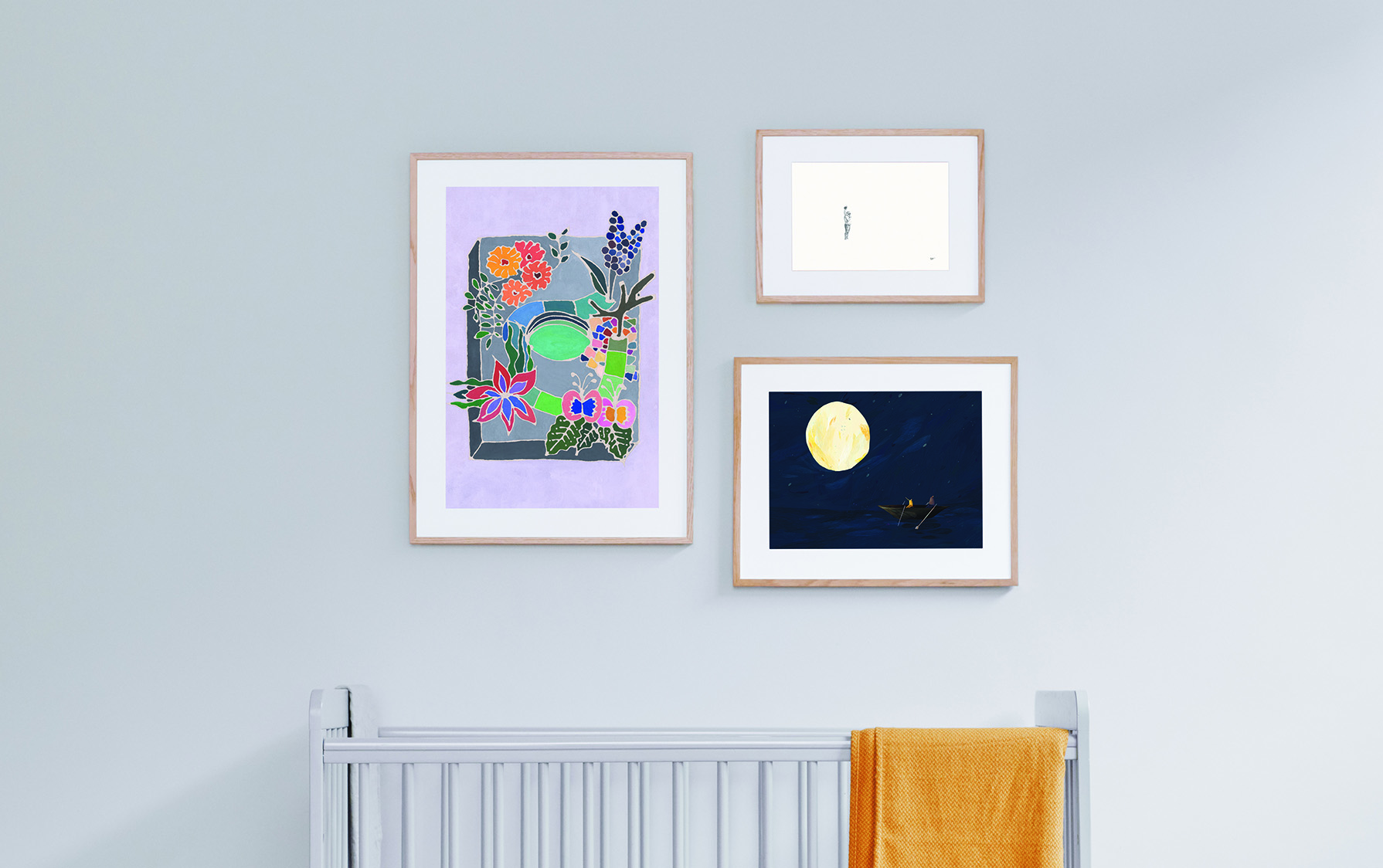 Sofia Niazi's 'Cereal Box Garden', Sarah Fleetwood's 'Playa de la Concha, San Sebastián', and Natascha Baumgärtner's 'One Night At The Lake' in various sizes all framed in oak